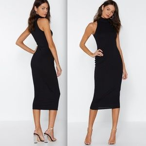 NWT Nasty Gal fitted mock neck midi-length dress